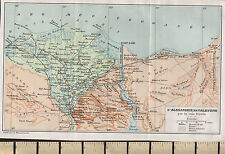 c1936 FRENCH MAP ~ ALEXANDRIA IN PALESTINE NILE DELTA CAIRO