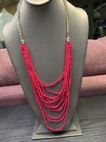 Vintage Multi Strand Hot Pink Waterfall Seed Bead Bohemian Long Necklace 30""