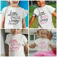 Girls Little Miss Sassy Pants T-Shirt Personalised for Kids perfect princess