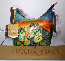 NWT ANUSCHKA ~ WILD MUSTANG HAND PAINTED LEATHER  PURSE  ~ HORSES STALLIONS