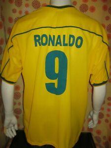 Ancien MAILLOT NIKE BRESIL #9 RONALDO XL COUPE DU MONDE 1998 Football Foot Shirt