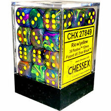 Chessex Dice (36) Block Sets 12mm D6 Festive Rio Marble/Yellow 36 Die CHX 27849