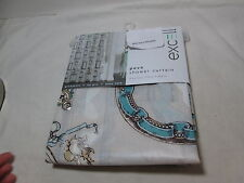 New Excell FRAME FLIER Peva Shower Curtain With Metal Grommets ~  Blue, Beige