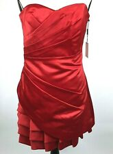 NWT Calvin Klein Size 12 Red Rouge Strapless Pleated Evening Dress