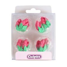 Culpitt 12pc PINK ROSE BUD Edible Cupcake Cake Sugar Pipings Decorations Toppers