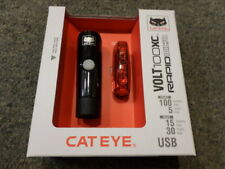 Cateye Volt 100 XC Front and Rapid Micro Rear LED USB Rechargeable Lightset.NEW!