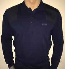 Hugo Boss Long Sleeve Polo Top tshirt BNWT Navy Blue size XL *Green Label*