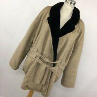 Sonia Rykiel XL Coat Tan Black Fleece Lined Pockets Drawstring Waist Womens