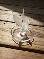 R Lalique France Signed Dove Bird Ring Holder Trinket Dish Clear Crystal