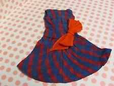 Vintage Barbie Beau Time #1651 1966-1967 Sleeveless Red And Navy Dress W/Bow