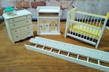 VINTAGE WOOD DOLLHOUSE FURNITURE  NURSERY SET, YELLOW, PINK AND WHITE 6 PIECES