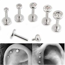 Clear BEZEL ROUND Crystal Labret Ear studs triple helix tragus bar - Set of 3, 5
