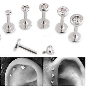 1 x Crystal BEZEL 18g Steel Labret Stud Triple Helix Cartilage Tragus Conch Ear