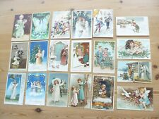More details for 19 x christmas postcards goblin pig angel dove motor car cupid butterfly pigeon