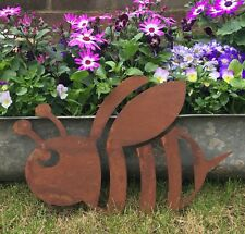 Rusted BEE Sign Metal Home Garden Ornament Bird Duck Animal Feature Wall Lawn