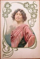 Art Nouveau Woman w/Green Flower Border 1902 Color Litho Postcard