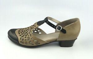 Spring Step Women's Maiche Black/Beige Leather Pump Adjustable Strap Sz 39/ 8.5