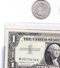 90 % silver walking liberty half  &  1957 $1 silver certificate, lot of 2