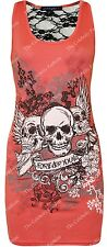 Women's Forever Young Skull Print Body con Dress Lace Back Vest Tops Plus Size