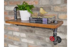 Industrial Wooden Pipe Floating Valve Wall Shelf Vintage Rustic Style Storage