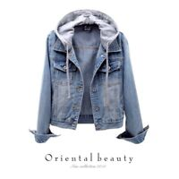 New Women's Fashion Blue Short Denim Hoodies Coats Cropped Slim Fit Jean Jackets