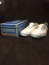 Vtg Converse Mens Blue Label Ox Sz 15 Made in Usa 60s White Shoes Skidgrip wBox