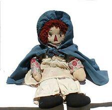 Antique Raggedy Ann Doll w/Blue Cape