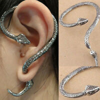 Punk Gothic Snake WILD Excellent Temptation Silver Ear Stud Cuff Earrings