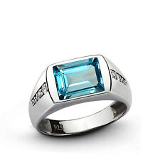 Handmade Mens ring with Blue TOPAZ and 8 DIAMONDS in Solid Sterling Silver