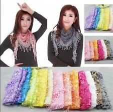 Women Lace Sheer Burnt-out Triangle Mantilla Scarf Shawl Floral  Wrap Tassel AU