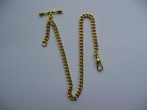 Single albert  gold plated pocket watch chain fob t bar standard swivel clasp  2