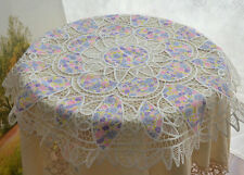 """36"""" Round Battenburg Lace Round Doily Floral Patchwork Table Cloth Runner Topper"""