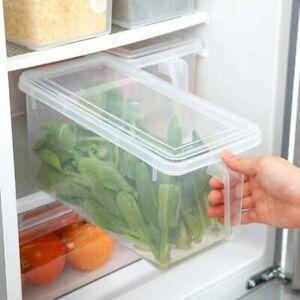 Fridge Box Holder w/ Lid Kitchen Organiser Cupboard Food Storage Container