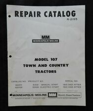1963 1968 Minneapolis Moline Model 107 Town Amp Country Lawn Tractor Parts Manual