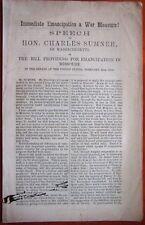 Rare 1863 Charles Sumner Speech Immediate Emancipation a War Measure Civil War