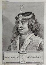 Gravure Antique print THEODORIC III Comte de Hollande Flipart Count of Holland