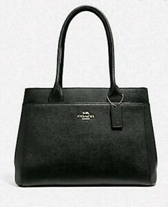 New Coach 31474 Casey Tote Crossgrain Leather Handbag Black