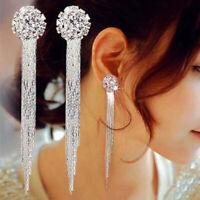 Fashion Women Lady Long Crystal Drop Dangle Line Tassel Stud Earrings Jewelry