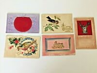 5 Victorian Christmas postcards heavily embossed deer puffy bird 1920s glitter