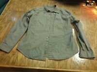 Guess Olive green men's L cotton casual button shirt long sleeve