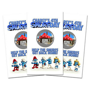 10 The Smurfs Movie Personalized Smurf Birthday Party Favors Scratch Off Games