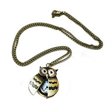 Flappy Wings Owl Locket Watch NecklaceN3
