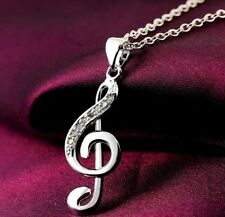 925 Sterling Silver Music Note Pendant And Chain Necklace With Gift Pouch