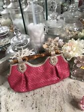 Elaine Turner Bamboo Pink White Gold Straw Chain Clutch msrp $225.