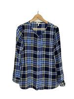 Joie S Small Karianna Plaid Silk Top Button Down Blouse Blue Green White