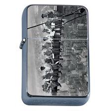 Silver Flip Top Oil Lighter Vintage Poster D6 Lunch on Skyscraper New York City