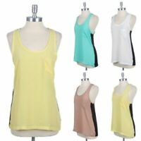 Color Block Racerback Tank Top with Chest Pocket Sleeveless High n Low S M L