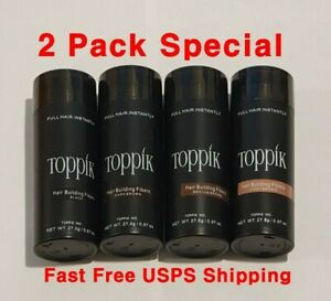 TOPPIK Hair Building Fibers ✅ 2 PACK ✅ Dark Brown Black Medium Brown Light ✅