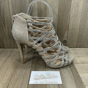 INC International Concepts Sharee 2 Heels Silver Sparkle Womens Size 6.5