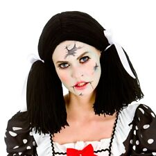 Ladies Broken Doll Wig Black With White Bows Bunches Fancy Dress Halloween